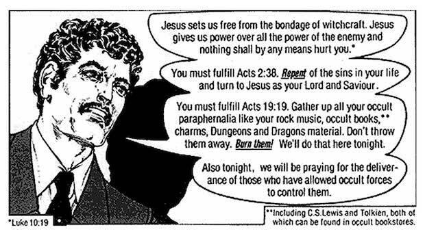 La asociación que hace Todd de los Illuminati con la brujería y el satanismo se populariza en círculos evangélicos con las publicaciones en forma de cómic de Jack Chick.