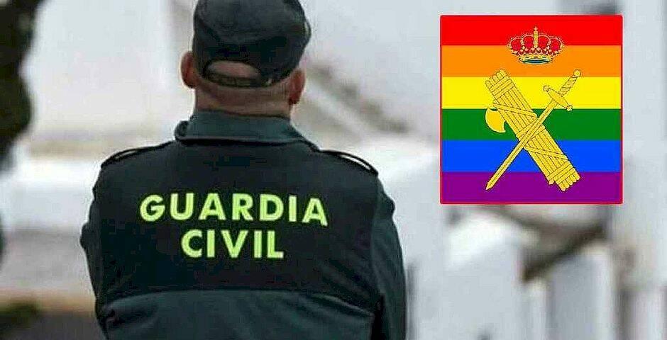 El logo de la guardia civil, con el fondo de la bandera del Orgullo,El logo de la guardia civil, con el fondo de la bandera del Orgullo