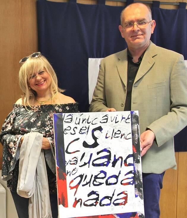 Encuentro de ADECE en Valladolid, Beatriz Garrido y Juan Carlos Martín, actual secretario general de Tiberíades (foto MGala)