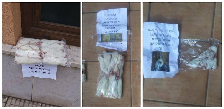 Las imágenes de las ratas y los carteles insultantes. / Julio García Celorio, Facebook,