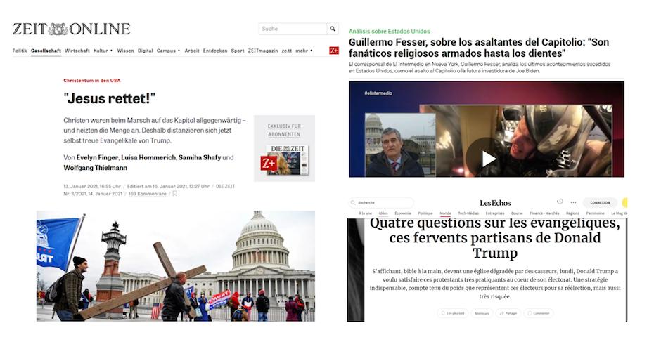 Titulares de artículos en medios de Alemania, Francia y España en los que se habla de los evangélicos como partidario de Trump. / Zeit, La Sexta, Les Échos,