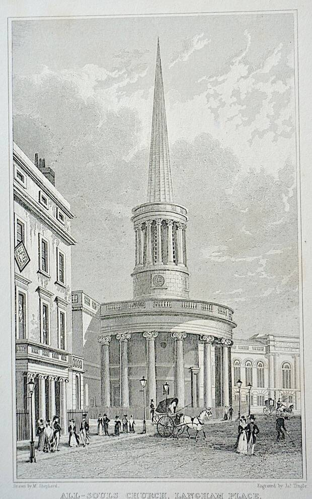 La iglesia donde estuvo toda la vida Stott había sido construida en 1820 en Langham Place, al lado de la principal arteria comercial del centro de Londres, Oxford Circus.