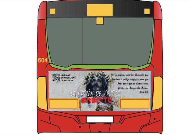 Los autobuses de Bilbao lucen anuncios evangelísticos esta Semana Santa