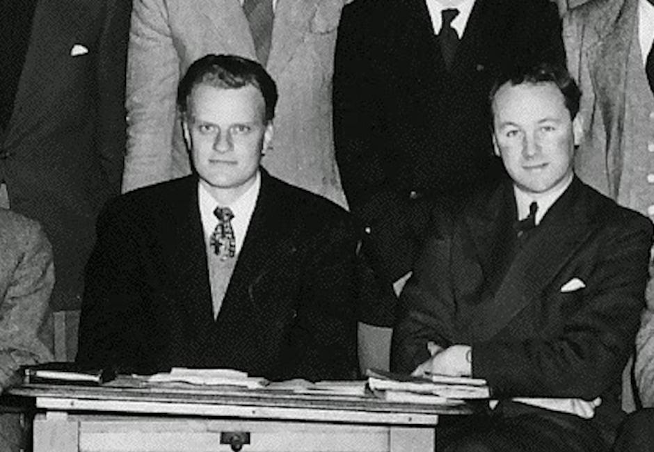 Stott y Graham en la campaña del grupo de estudiantes cristianos de Cambridge CICCU en 1954.