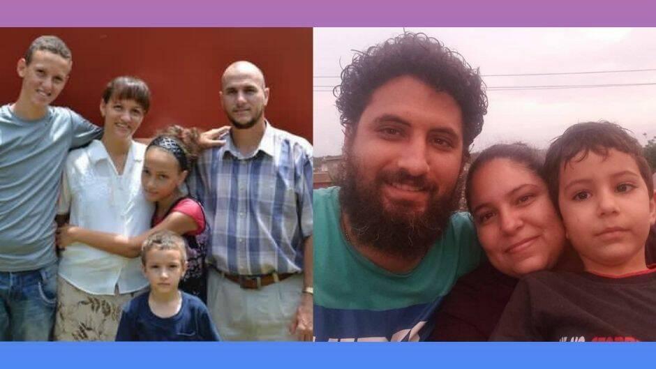 Yéremi Blanco (izquierda) y Yarián Sierra (derecha), con sus familias. Ambos permanecen detenidos por la autoridad cubana.|#|