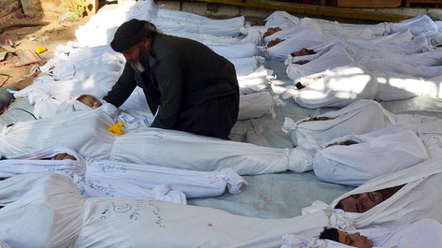 <p> Una de las im&aacute;genes difundidas por los rebeldes sirios la pasada semana, tras la supuesta matanza por ataque con armas qu&iacute;micas.&nbsp;</p> ,