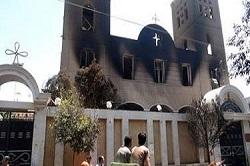 <p> Iglesia copta en Minia, quemada el pasado 13 de agosto.</p> ,
