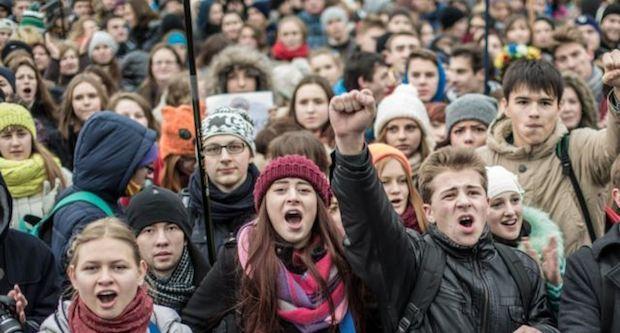 <p> Manifestantes en Ucrania. / RIA Novosti</p> ,