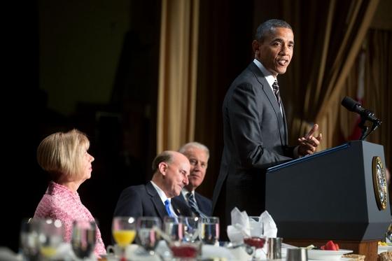 <p> Barack Obama, durante su discurso en el Desayuno Nacional de Oraci&oacute;n, celebrado este jueves. / White House Blog</p> ,