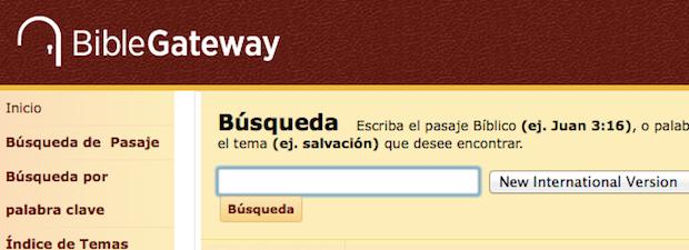 <p> La web BibleGateaway.com, un popular buscador b&iacute;blico en Internet.</p> ,