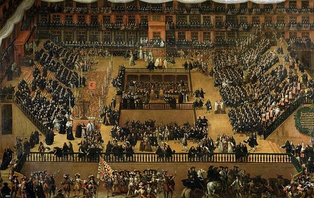 <p> Auto de Fe en la Plaza Mayor de Madrid, 1683. &Oacute;leo de Francisco Rizi. / Museo del Prado</p> ,