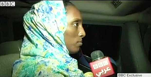 <p> Meriam Ibrahim, a su llegada a la embajada de EEUU en Sud&aacute;n / BBC</p> ,