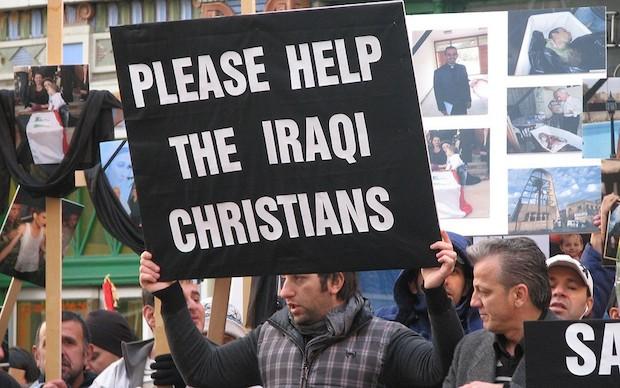 <p>Una manifestación pidiendo ayuda para los cristianos en Irak. / Archivo</p>,