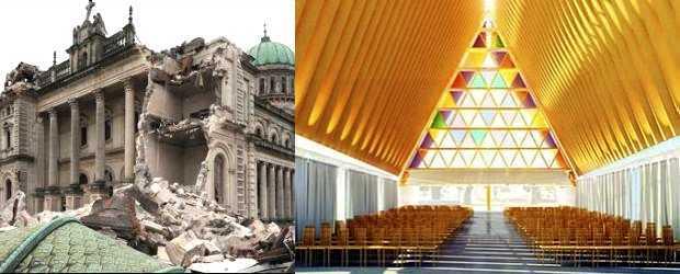 <p> A lz izquierda, la catedral anglicana destruida. A la derecha, el interior de la maqueta de la catedral de cart&oacute;n</p> ,