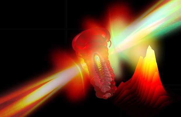 <p> Imagen que representa un electr&oacute;n arrancado del &aacute;tomo por el l&aacute;ser</p> ,