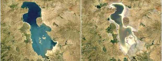 <p> Imagen de la desecaci&oacute;n del lago Urmia en Ir&aacute;n, entre 1984 (i) y 2012 (d) / Google Earth Engine</p> ,
